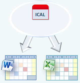 Export icalendar to Word and Excel