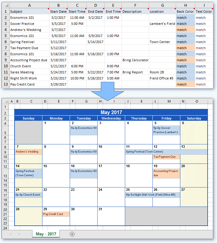 Create a Calendar from Excel data