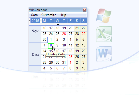 Free Windows Desktop Calendar
