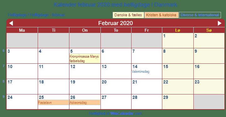 danmark kalender til udskrivning februar 2020. Black Bedroom Furniture Sets. Home Design Ideas