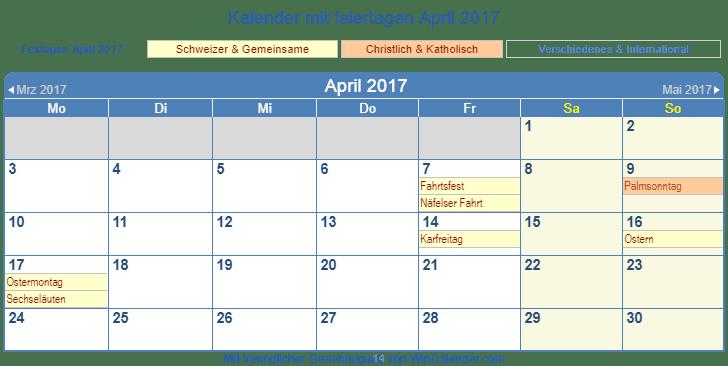 druckf hig ch kalender zum drucken april 2017. Black Bedroom Furniture Sets. Home Design Ideas