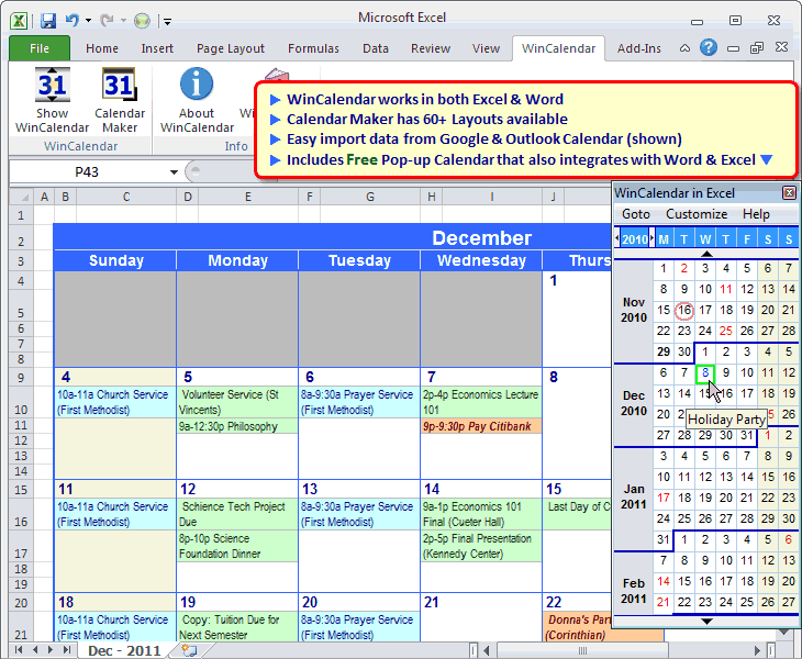 Calendar Maker & Date Picker for Word & Ex