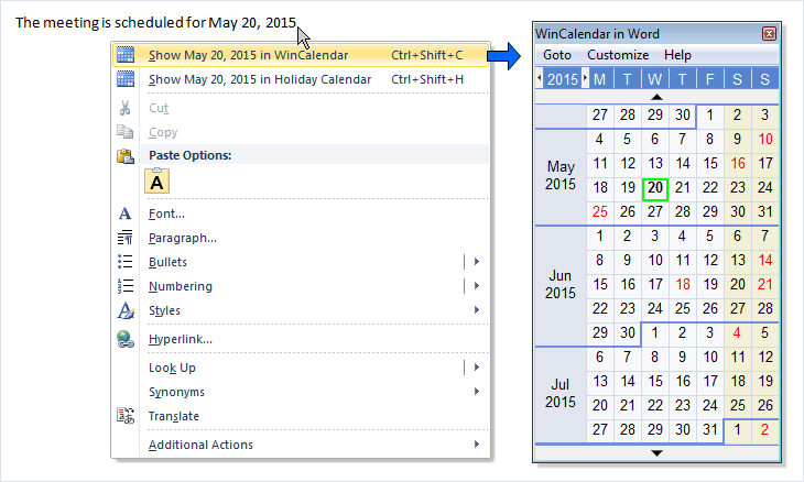 Calendar date picker in Word