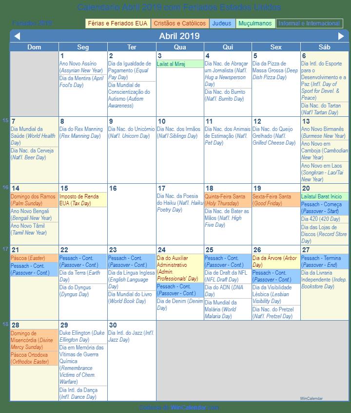 Calendario 2019 Pascoa