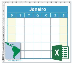 Calendário Excel América Latina